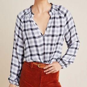 Anthropologie Cloth & Stone Sara plaid blouse s